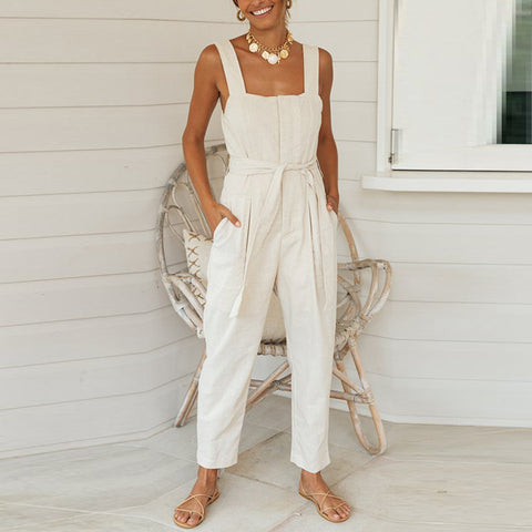 Cotton and linen suspenders waistband loose loose jumpsuit