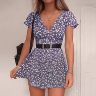 Girly Fashion Floral Print Short Sleeve Dress