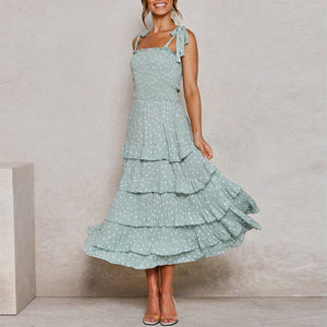 Lace up fresh and fashionable temperament pleated stretch dress