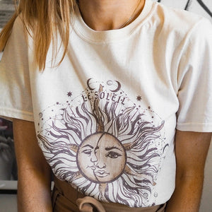 Women's casual sun pattern printed round neck short sleeve T-shirt