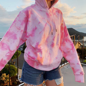 Tie-dyed cotton long-sleeved sweatshirt