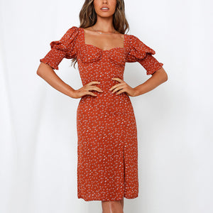 Fashion elegant square collar chiffon printed midi dress