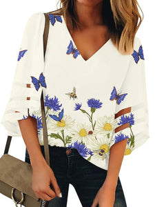 V Neck Print Bell Sleeve Blouse