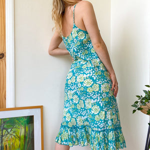 Green summer print dress