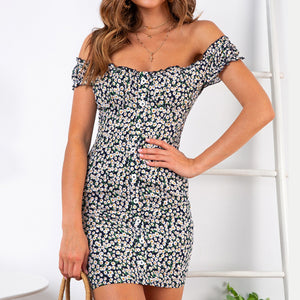 Off-the-shoulder sexy print mini dress