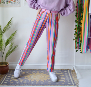 Retro Candy-color Striped Casual Long Pants