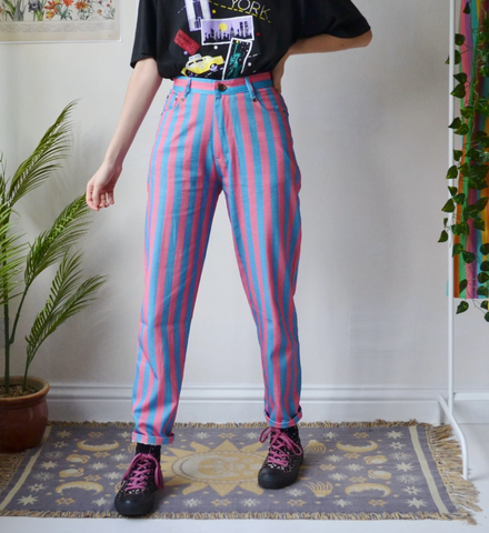 Retro Blue And Pink Striped Casual Trousers