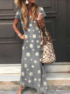 Casual Plus Size Daisy Print Short Sleeve Maxi Dress