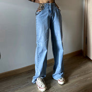 High waist is tall and thin and loose wide leg casual jeans