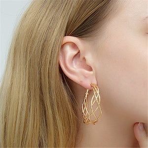 Exaggerated geometric metal ring earrings YD21