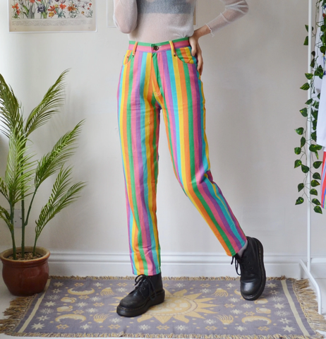 Retro Rainbow Striped Casual Trousers