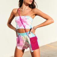 Tie-dye tube top shorts two piece set