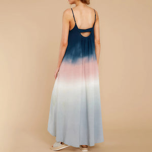 Fashion sling long color-block dress