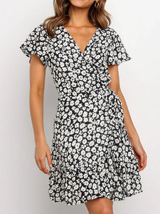 Fashion floral print V-neck short sleeve chiffon dress