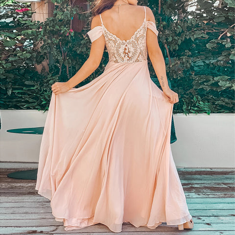 Stylish drop-shoulder short-sleeved long dress evening dress