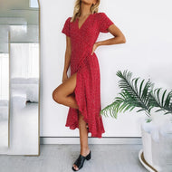 Fashion overlapping V-neck dress irregular hem elegant and romantic