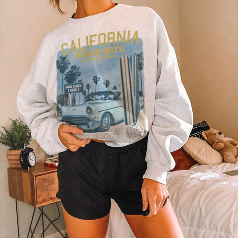Crew Neck Basic Sweatshirt Long Sleeve