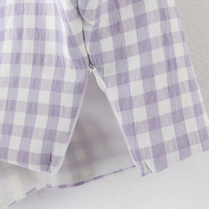 French retro purple check vest + high waist A word side split sexy bag hip skirt