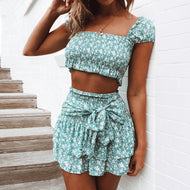 Square collar floral print two-piece suit