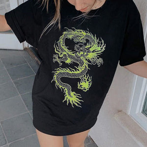 Personalized dragon print loose mid-length short sleeve top