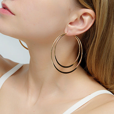 Exaggerated geometric double-layer big circle earrings