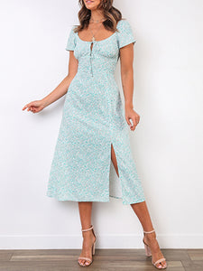 Sexy square collar short sleeve printed dress