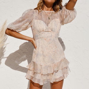 Fashionable short-sleeved chiffon elegant dress