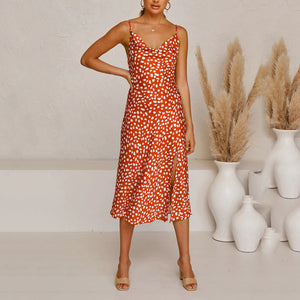 Cowl Neck Side Split Print Midi Dress