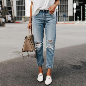 Vintage Casual Ripped Denim Pants
