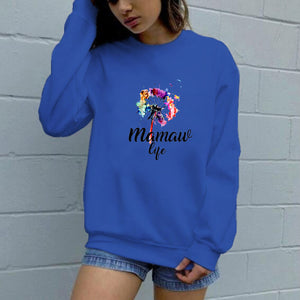 Colorful letters dandelion casual sweater