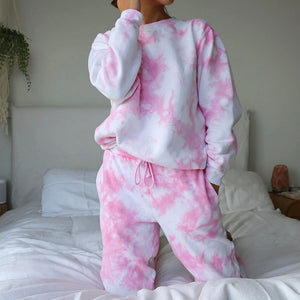 Tie-dye Long Sleeve Crewneck Two Piece Set