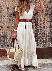 Lace Solid Short Sleeves A-line Casual Maxi Dresses
