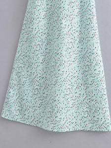 V-neck print maxi skirt leaky back tie knit slim dress