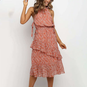 Ruffled strapless off-shoulder print dress