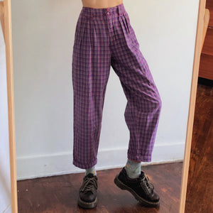 Retro Casual Plaid Loose Fitting Long Pants