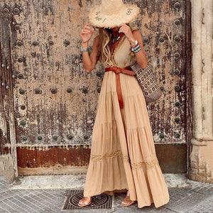 V-neck sleeveless solid color layered dress