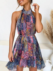 high neck multi-coloured mosaic print sleeveless mini dress