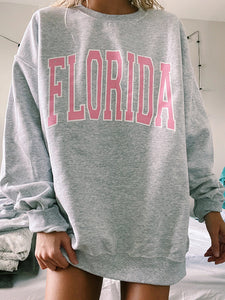 Round Neck Long Sleeve Florida Sweatshirt