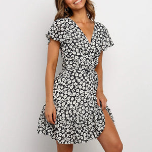 Floral print short sleeve V-neck casual chiffon dress