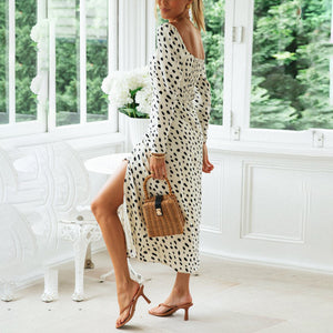Printed Polka Dot Square Collar Sexy Split Dress