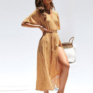 V-neck chiffon printed high-waist irregular midi dress
