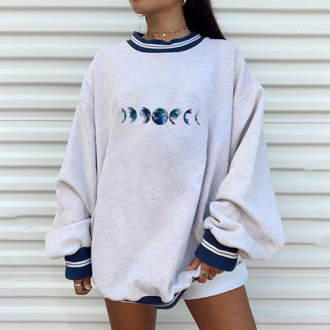 Casual fashion printing positioning printed European and American loose sweater