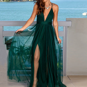 Spring and summer Europe and the United States foreign trade women's AliExpress explosion models sexy deep v net yarn strap dress dress