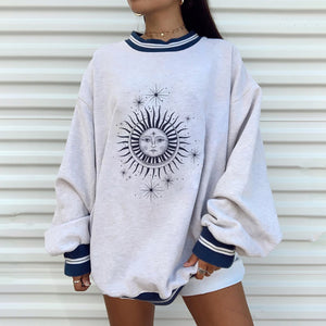 Casual fashion round neck long sleeve loose sweater European and American style
