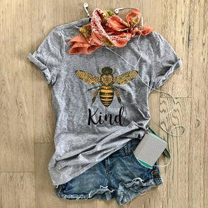 Cross-border WISH explosion models bee kind English pattern printing casual short-sleeved T-shirt loose shirt large size female T-shirt