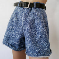 Retro casual printed straight shorts