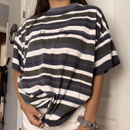 Casual striped short sleeve round neck loose T-shirt