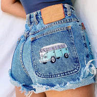 Basic casual embroidered graphic denim shorts