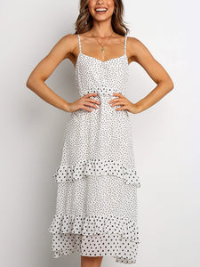 v neck thin adjustable strap polka dot midi dress