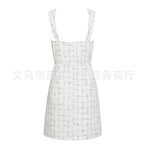 Square collar temperament commuter style sexy suspenders short dress